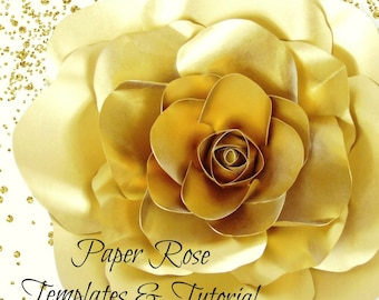Gold Paper Rose Template & Tutorials, Giant Paper Flower Patterns and Instructions, Paper Flower Wall