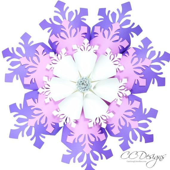 Large Paper Snowflakes Template DIY Giant Flowers Christmas Decor Snowflake SVG Frozen Party