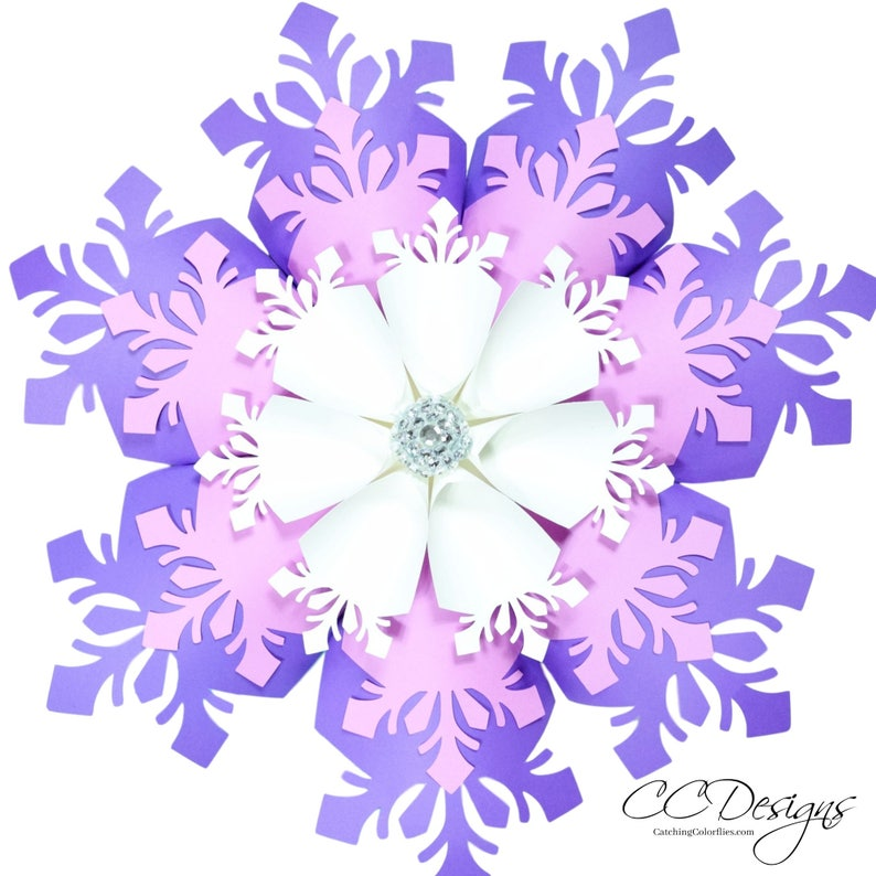 Large Paper Snowflakes Template DIY Giant Paper Flowers image 0