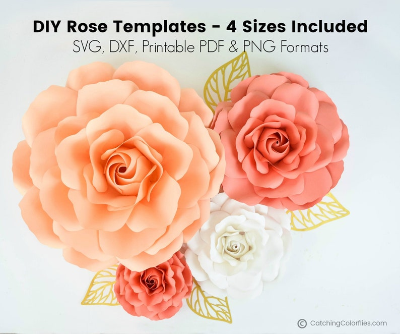 Set of 4 Paper Rose Templates Paper Rose Flower SVG Cut Files image 0