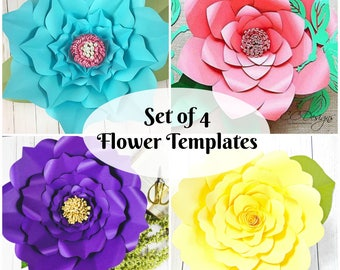 Large gardenia paper flowers gardenia flower templates giant set of 4 easy giant paper flower templates paper flower svg cut files large mightylinksfo