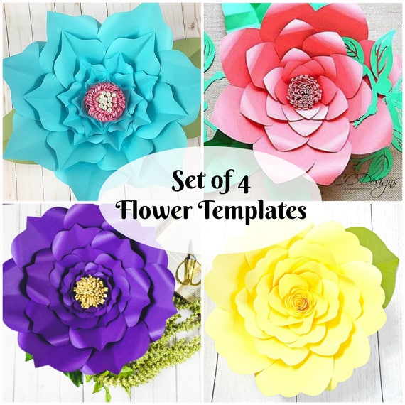 Diy Giant Paper Flowers Template Instant Download Paper Flower Pdf And Svg Templates Large Flowers For Paper Flower Wall