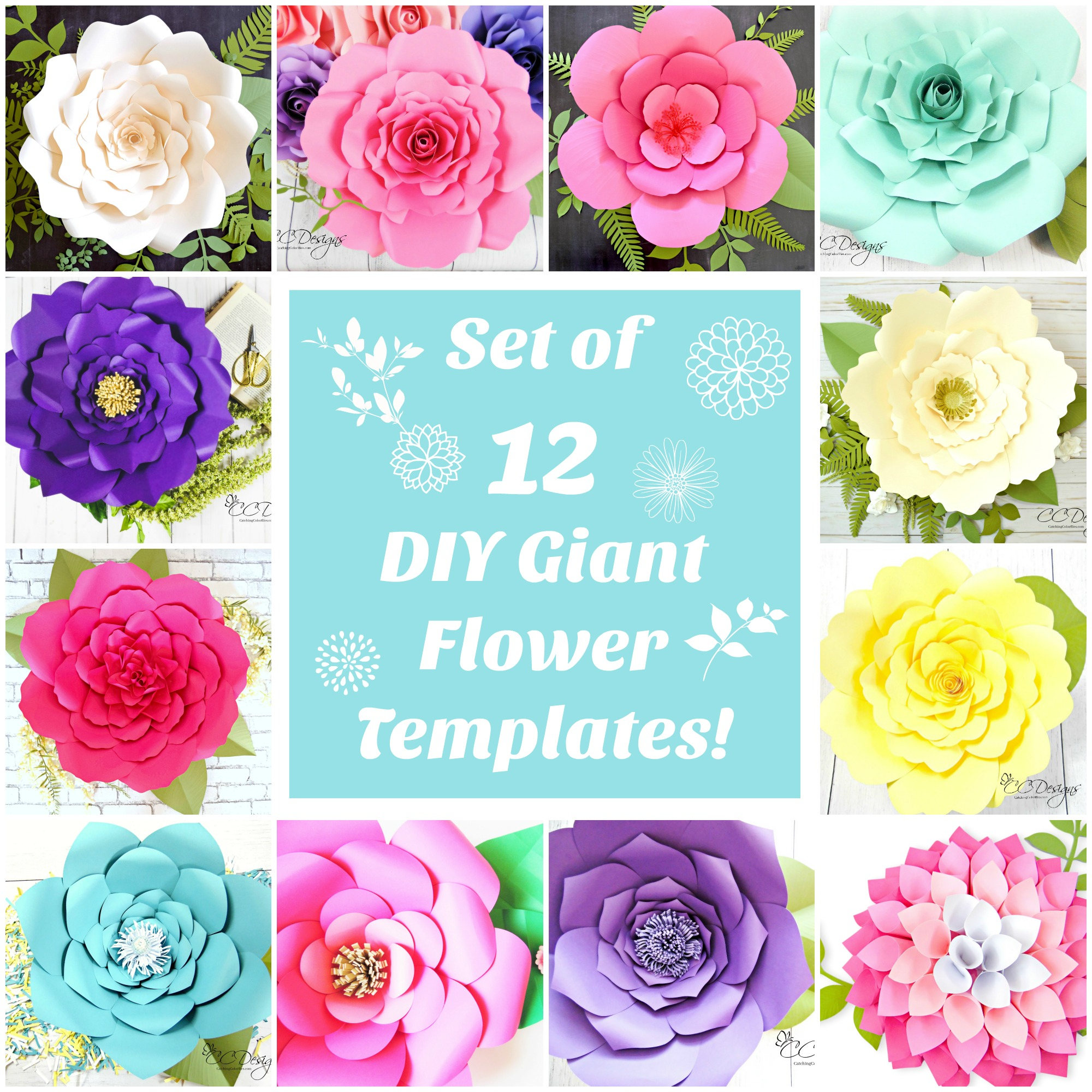 Giant Flower Template | Paper Flowers Large Paper Flowers Template Patterns Etsy