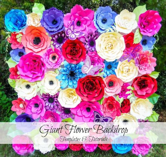 Giant Paper Flowers Flower Backdrop Paper Flower Templates Etsy