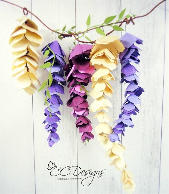 Hanging Wisteria Paper Flowers Wisteria Templates Diy Etsy