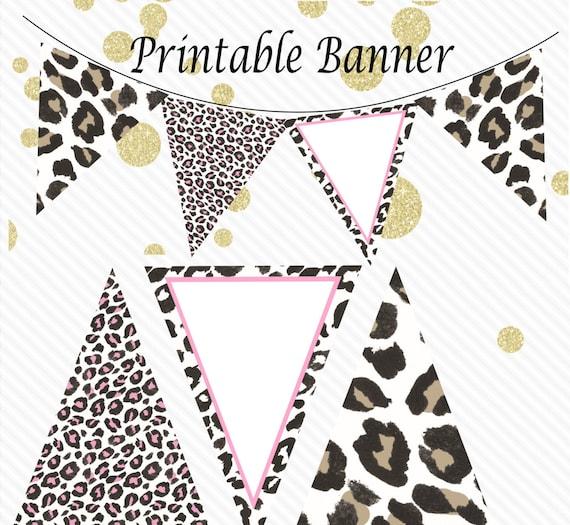 Safari Baby Shower Banner Jungle Baby Shower Decor Pink Leopard