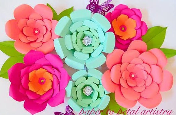 Large paper flowers diy flower backdrop wedding decor giant paper large paper flowers diy flower backdrop wedding decor giant paper flowers paper flower tutorial large flower templates set of 3 from mightylinksfo