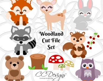 Baby Woodland Animal Cut Files, Woodland Nursery Decor, HTV SVG Files, Baby Deer and Cute Fox SVG,  SVGs for Cricut & Silhouette