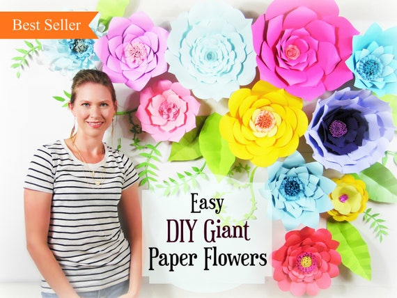 Giant paper flower tutorial large paper flowers wedding etsy image 0 mightylinksfo