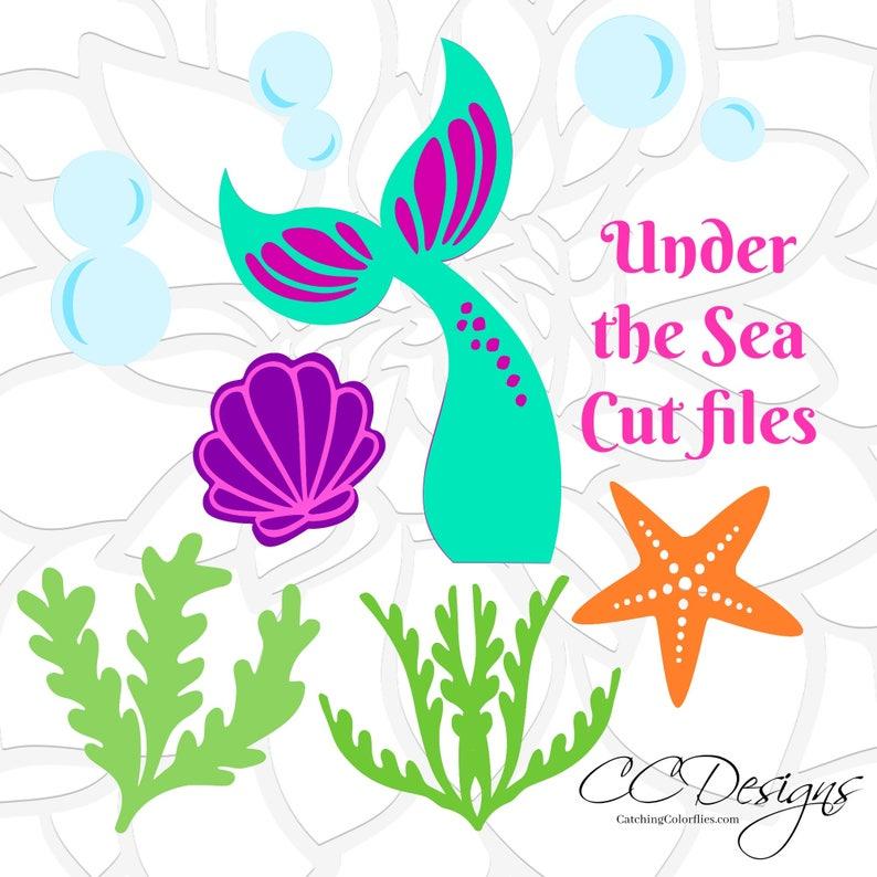Mermaid SVG, Mermiad Tail SVG, Under the Sea, Mermaid Birthday Party,  Little Mermaid, Seashell, Starfish, Seaweed SVGs, Cut Files