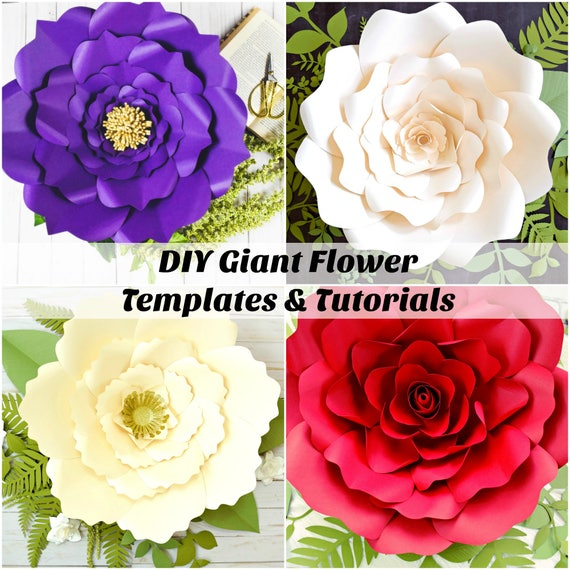 Diy giant paper flower templates and tutorials wedding etsy image 0 mightylinksfo