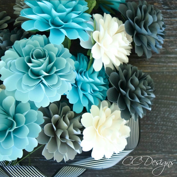 Small Dahlia Paper Flower Template Diy Paper Flowers Paper Etsy
