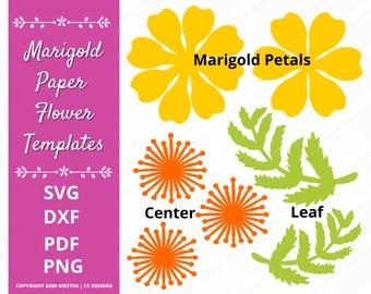 DIY Paper Flower Tutorial, Marigold Flower SVG and PDF Template, Svg Paper Flowers