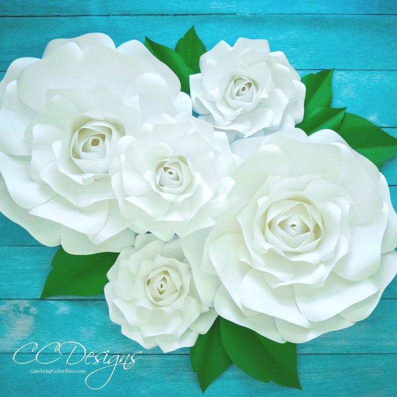 Grosse Papier Rose Vorlage Riesige Papier Blume Druckvorlage Tutorial Papierblumen Hochzeit Kulisse Diy Papierblumen