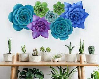 Giant Paper Succulent Flower Templates, Paper Succulent SVG and PDF Templates, Large Paper Flower Backdrop, Instant Download