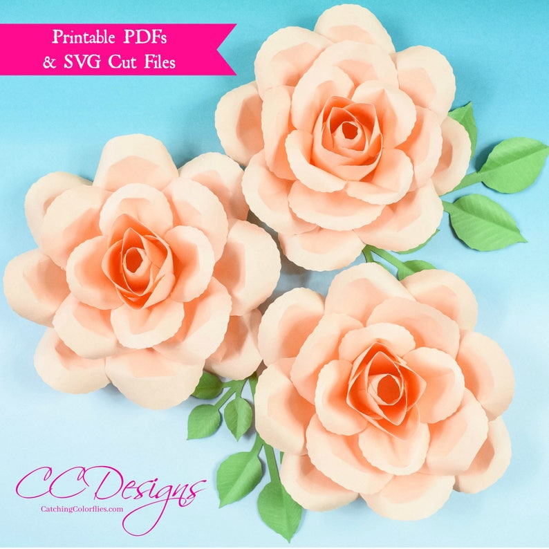 How To Make Paper Roses Paper Rose Tutorial Printable Pdf Rose Templates Svg Flower Cut Files Flower Templates