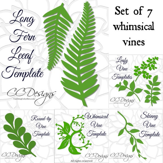 Leaf and Vine Templates Printable PDF Leaf Template Flower