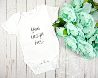 Blank Onesie Product Image, White Baby Onesie Product Mockup, T-shirt Template Background, JPEG image