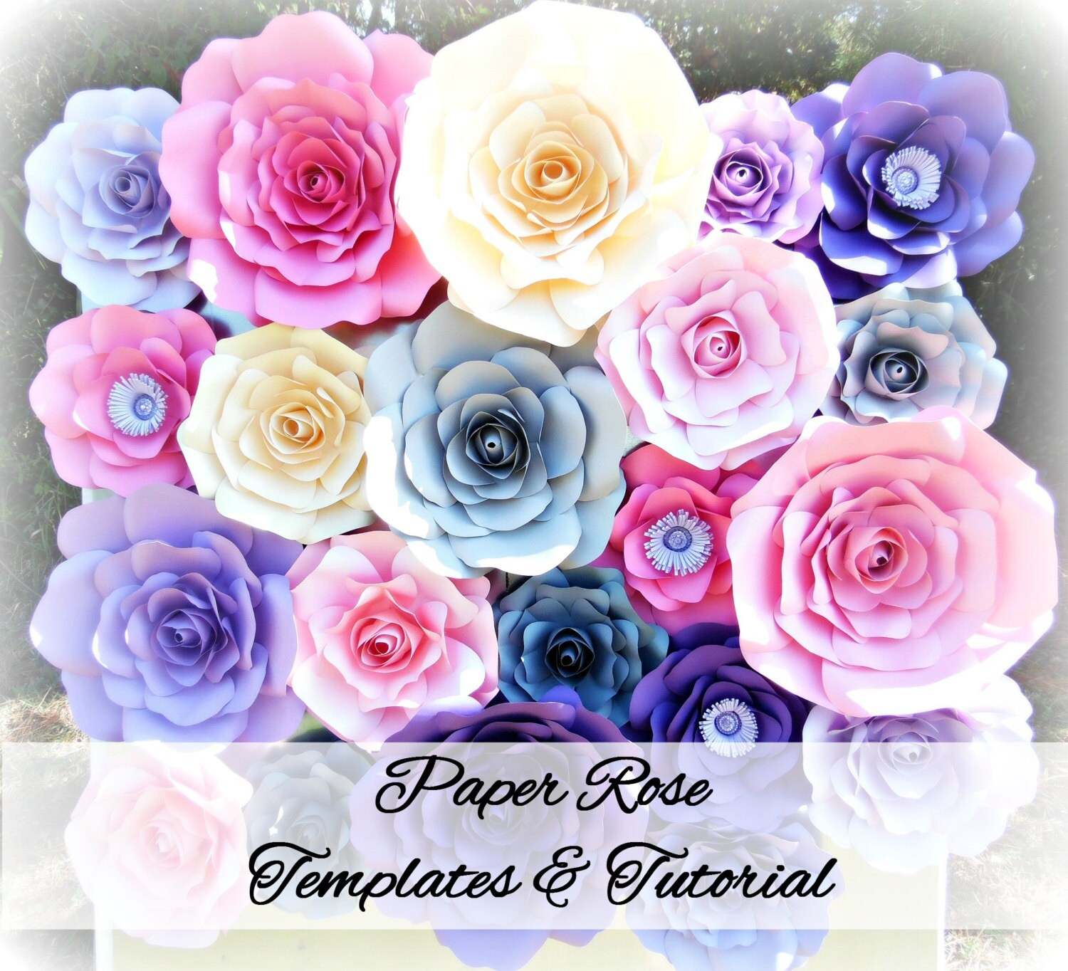 Diy Giant Paper Rose Pattern Templates And Tutorials Garden Etsy