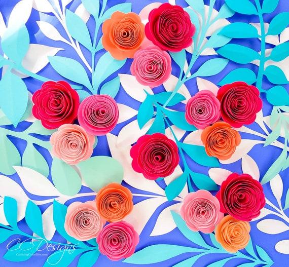 Small Paper Roses Paper Flower Kit Set Of 10 Paper Rosette Flower Templates Instant Download