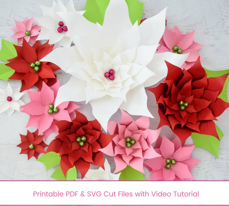 Christmas Paper Poinsettia Diy Flower Templates Small And Large Instant Download Paper Flower Templates Paper Craft Christmas Decor
