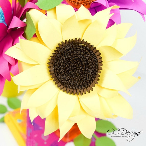photo about Printable Pictures of Sunflowers named Paper Sunflowers, Paper Sunflower Templates, Do it yourself Sunflowers
