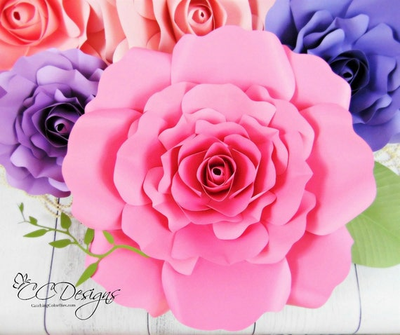 Giant Paper Rose Templates Diy Large Paper Flowers Printable Pdf Paper Rose Pattern And Tutorial Wedding Decor