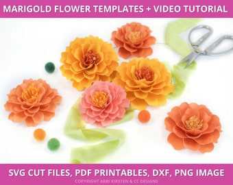 Marigold Paper Flower Templates, Marigold SVG Cut Files and PDF Printable Templates, Day of the Dead Flowers, Small Paper Flowers