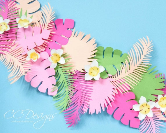 graphic relating to Banana Template Printable called Paper Leaf Vine Templates, Tropical Paper Bouquets, Banana