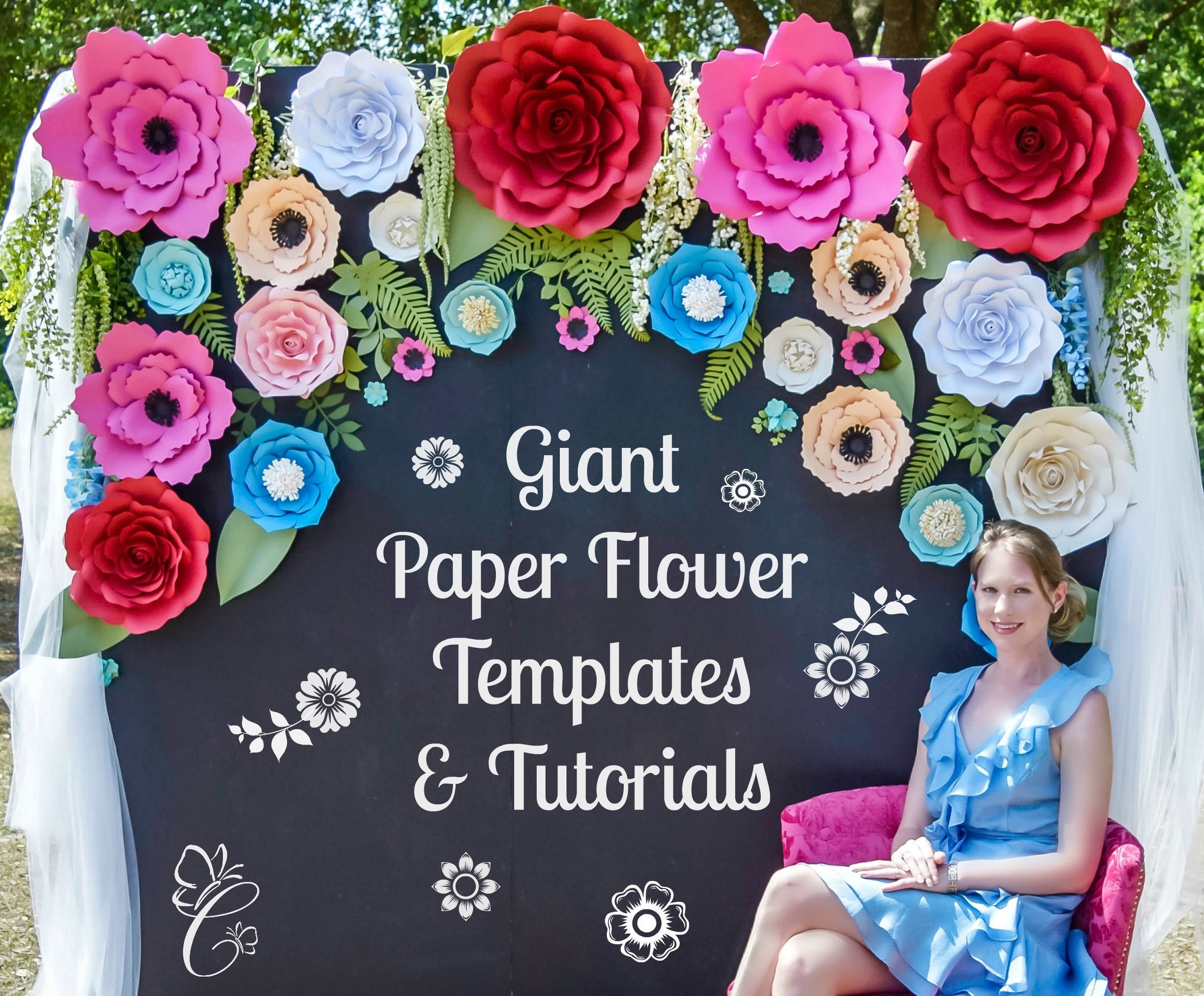 Paper Flower Backdrop Giant Paper Rose Templates Tutorials Wedding Backdrop Decor Large Paper Flowers