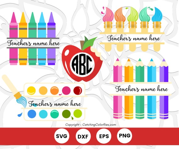 Teacher Appreciation Svg Monogram Set Teacher Gift Crayon And Colored Pencil Svg Monogram Teacher Apple Paint Palette Svg By Catching Colorflies Catch My Party