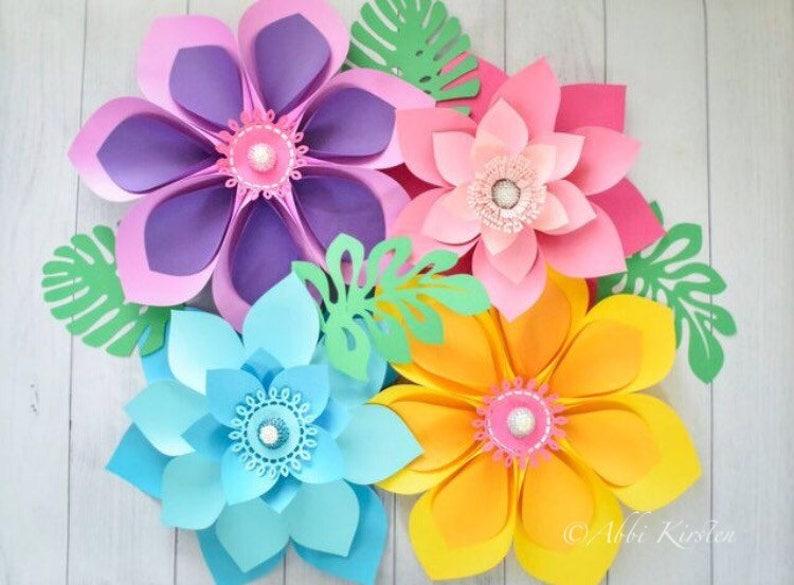 Hawaiian Flowers Paper Flowers Large Paper Flowers Templates Etsy