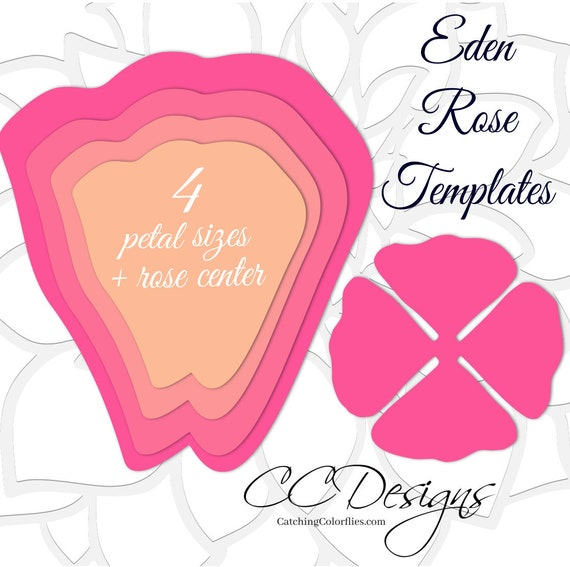 Giant Paper Rose Templates Diy Large Paper Flowers Printable Pdf
