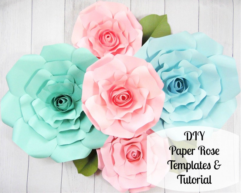 Giant Paper Roses Large Paper Flower Roses Rose Templates Tutorials Flower Templates
