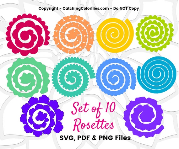 Paper Flower Rolled Rosette Templates Printable Pdf Rolled Rosettes Templates Instant Download Set Of 10 By Catching Colorflies Catch My Party