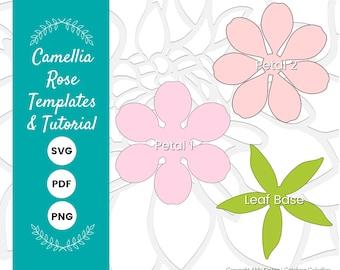 DIY Paper Rose Flower Template, Flower SVG Cut Files for Cricut or Silhouette, Rose Petal PDF Printables