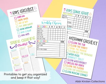 Weekly Cleaning Checklist, Kids Chore Charts, Cleaning Stickers, Cleaning Planner Stickers, Declutter Printables, Instant Download