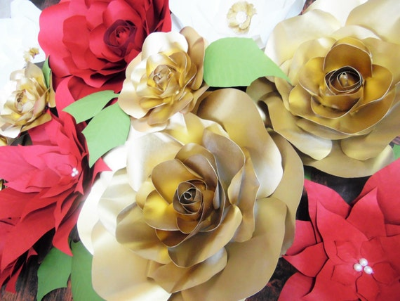 Christmas Paper Flower Decor Diy Poinsettia Flower Templates Gold