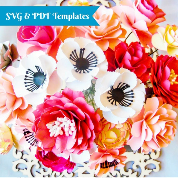 Svg paper flower cutting files diy paper flower templates flower il570xn mightylinksfo