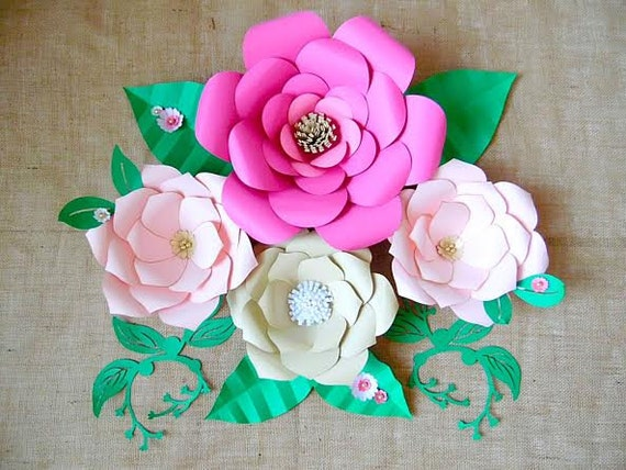 Paper flower templates diy giant paper flowers diy flower etsy image 0 mightylinksfo