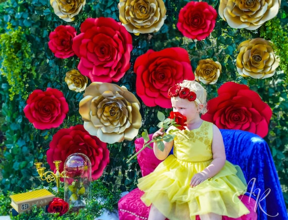 Giant Paper Roses Rose Flower Backdrop Beauty And The Beast Party