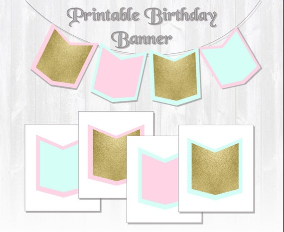 graphic relating to Printable Banner Templates identify Glitter Birthday Banner/ Mint Purple Gold Printable banner