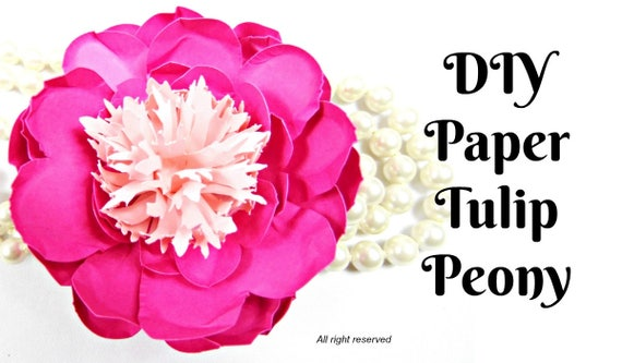 Tulip peony paper flowers diy paper flower patternstemplates etsy image 0 mightylinksfo