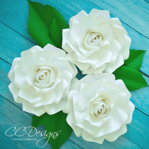 Small Paper Rose Flower Templates Tutorial Wedding Paper Etsy