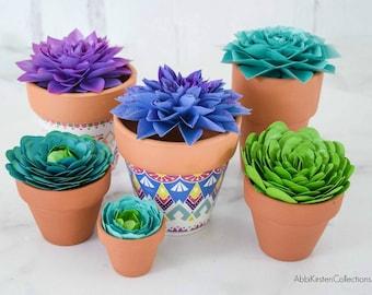 Paper Succulent Plant Flower Template, Succulent SVG Cut Files and PDF Printables, Instant Download