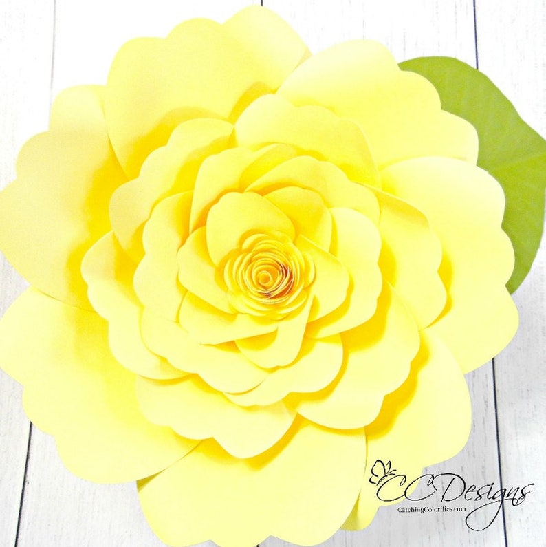 Giant Paper Flower Tutorial With Templates Diy Paper Flowers Etsy