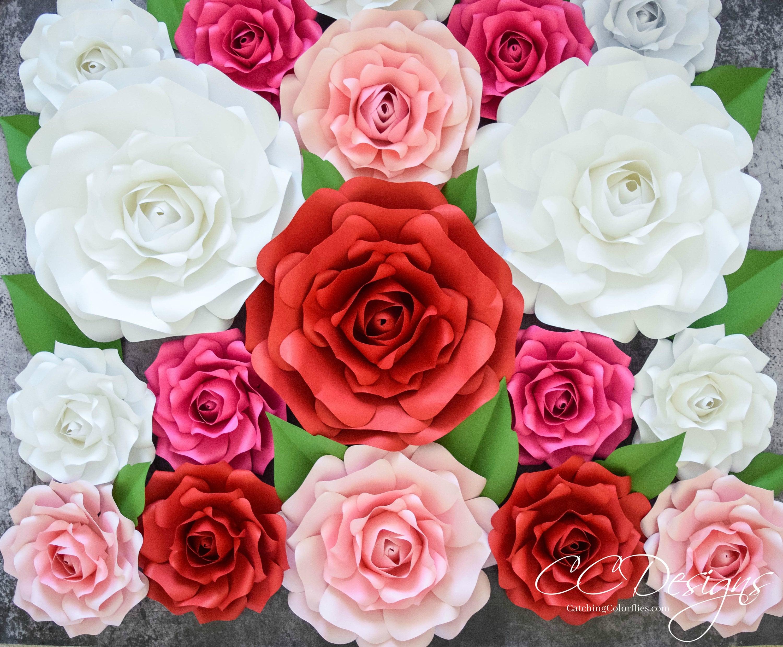 printable paper rose template svg cut file flower