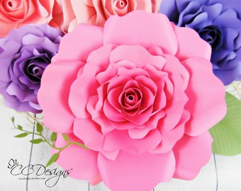Giant Paper Rose Patterns & Tutorials, DIY Paper Flower Template SVG cut files, Backdrop Wedding Decor by Catching Colorflies