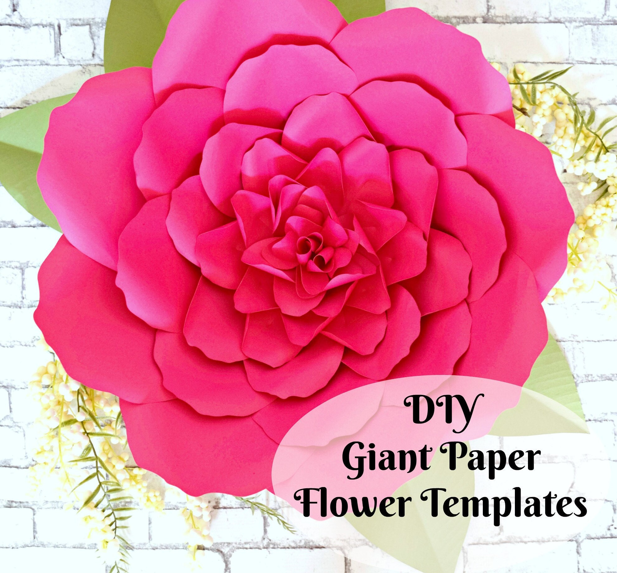 Large Paper Flowers Giant Paper Flowers Templates Etsy