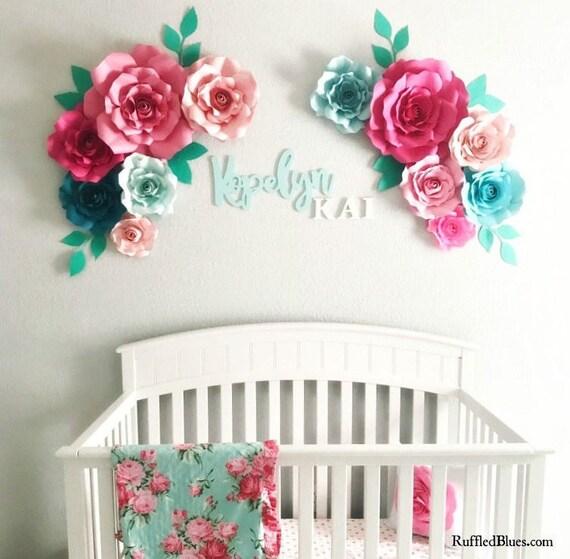 Baby Girl Nursery Giant Paper Rose Flowers Nursery Wall Decor